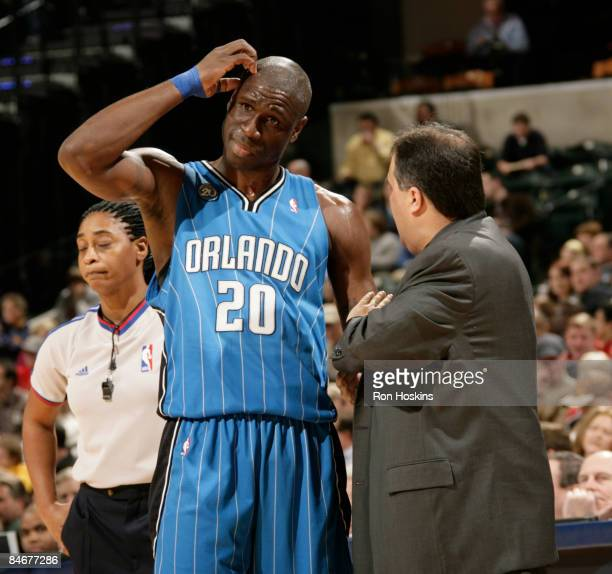 Mickael Pietrus of the Orlando Magic talks with Magic head coach Stan Van Gundy at Conseco Fieldhouse on February 6, 2009 in Indianapolis, Indiana....