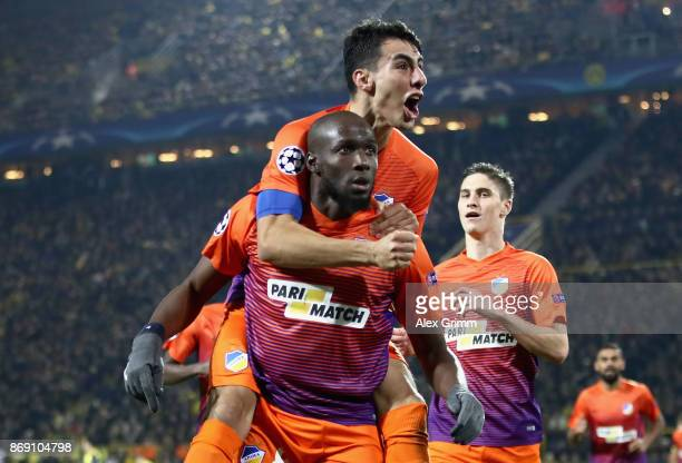 Mickael Pote of Apoel FC celebrates scoring his sides first goal with his team mates during the UEFA Champions League group H match between Borussia...