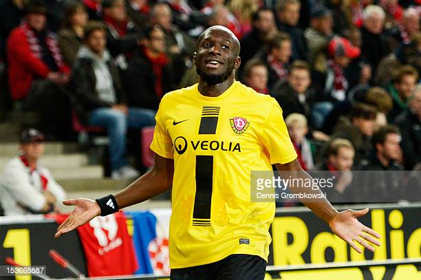 Mickael Pote of Dresden celebrates the first goal during the Second Bundesliga match between 1 FC Koeln and Dynamo Dresden at RheinEnergieStadion on...