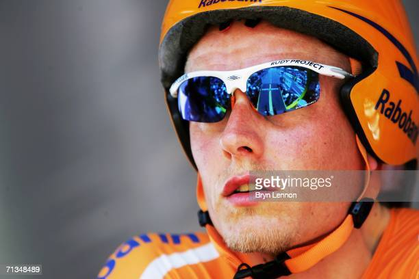 Mickael Rasmussen of Denmark and Rabobank awaits the start of the Tour de France Prologue time trial on July 1 2006 in Strasbourg France