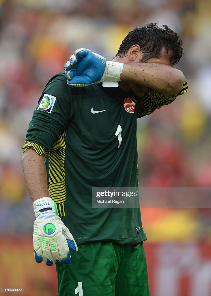 Mickael Roche of Tahiti reacts during the FIFA Confederations Cup Brazil 2013 Group B match between Spain and Tahiti at the Maracana Stadium on June 20, 2013 in Rio de Janeiro, Brazil.