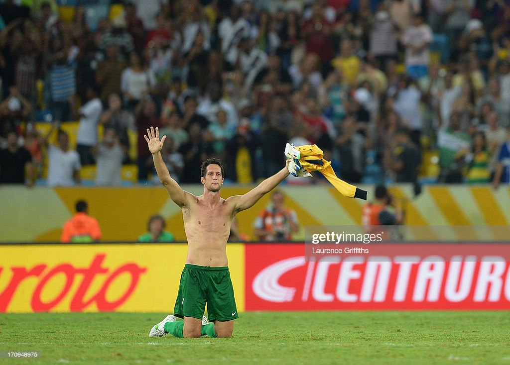 Mickael Roche of Tahiti waves to the fans at the end of the FIFA Confederations Cup Brazil 2013 Group B match between Spain and Tahiti at the Maracana Stadium on June 20, 2013 in Rio de Janeiro, Brazil.