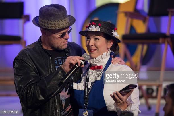 Mickael Rooker interacts with audience member at Mickael Rooker vs The Audience session at Sacramento Convention Center on June 17 2017 in Sacramento...