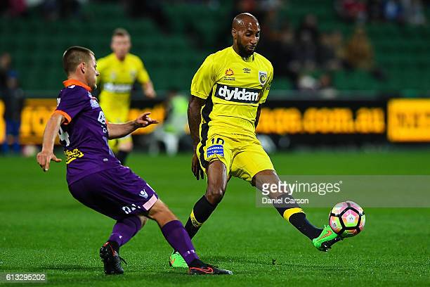 Mickael Tavares of the Central Coast Mariners controls the incoming pass during the round one ALeague match between the Perth Glory and the Central...