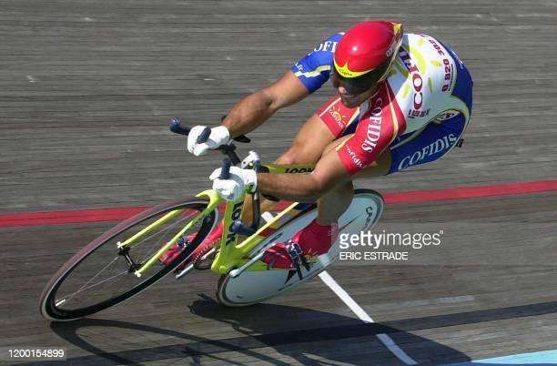 Mickaël Bourgain de la formation Cofidis remporte la finale du kilomètre départ arrêté Elite Hommes, le 08 juillet 2003, lors des Championnats de...