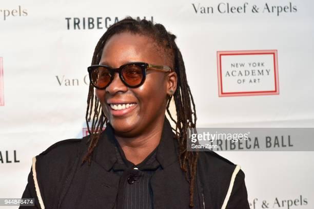 Mickalene Thomas attends Tribeca Ball to benefit New York Academy of Art at New York Academy of Art on April 9 2018 in New York City Mickalene Thomas