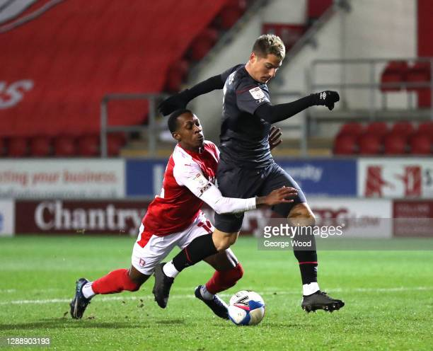 Mickel Miller of Rotherham United fouls Sergi Canos of Brentford in the penalty area, leading to a red card and a penalty being awarded during the...