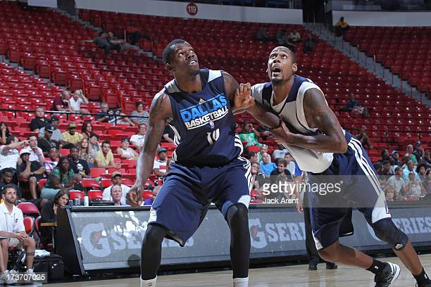 Mickell Gladness of the D-League Select Team guards Josh Akognon of the Dallas Mavericks during NBA Summer League game between the D-League Select...