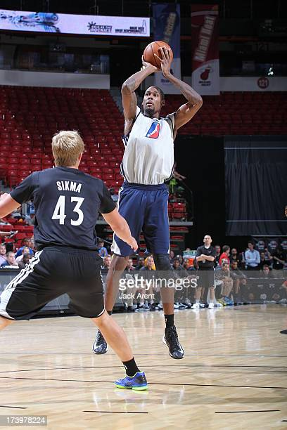 Mickell Gladness of the D-League Select team shoots the ball against the Minnesota Timberwolves during NBA Summer League on July 18, 2013 at the...