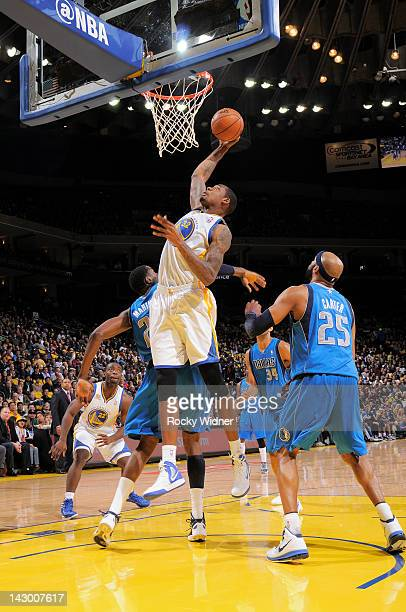 Mickell Gladness of the Golden State Warriors goes up for the shot against the Dallas Mavericks on April 12, 2012 at Oracle Arena in Oakland,...