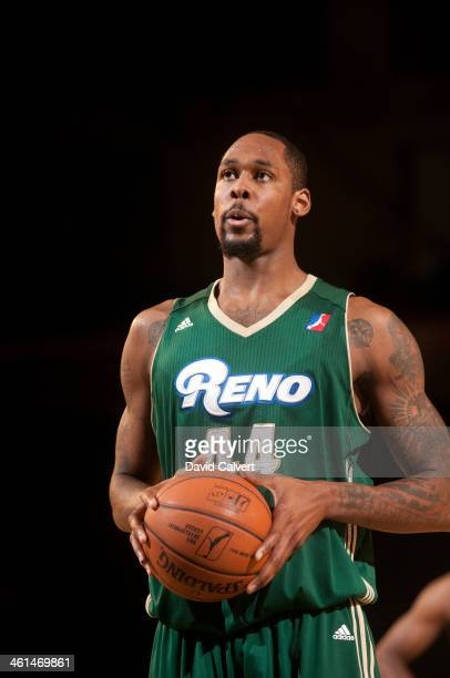 Mickell Gladness of the Reno Bighorns at the free throw line against the Springfield Armor during the 2014 NBA D-League Showcase on January 8, 2014...