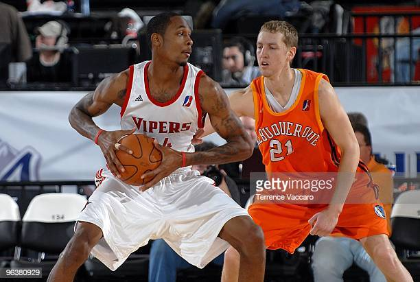 Mickell Gladness of the Rio Grande Valley Vipers drives the ball against Yaroslav Korolev of the Albuquerque Thunderbirds during the D-League game on...