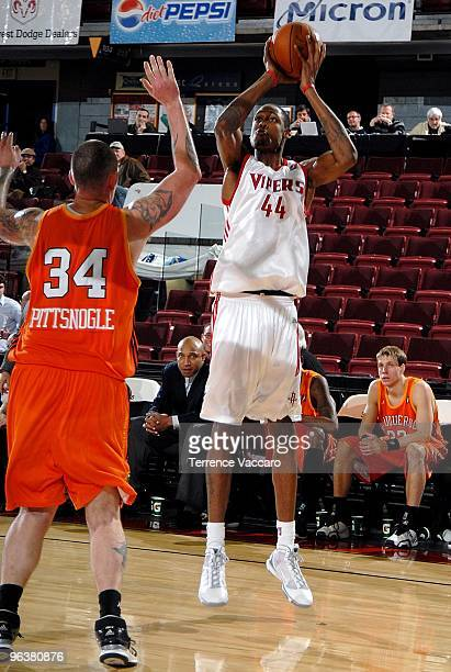 Mickell Gladness of the Rio Grande Valley Vipers shoots the ball against Kevin Pittsnogle of the Albuquerque Thunderbirds during the D-League game on...