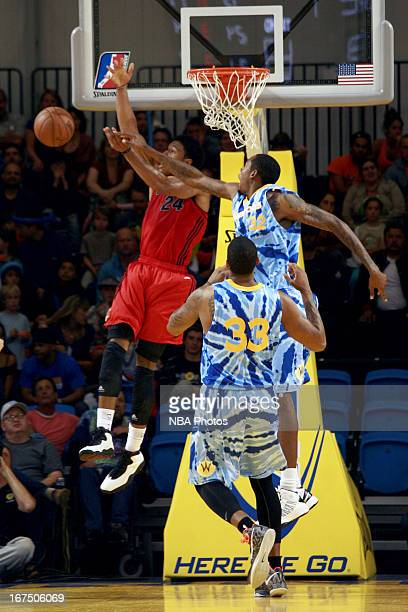 Mickell Gladness of the Santa Cruz Warriors blocks the shot of an Idaho Stampede player on March 27, 2013 at Kaiser Permanente Arena in Santa Cruz,...