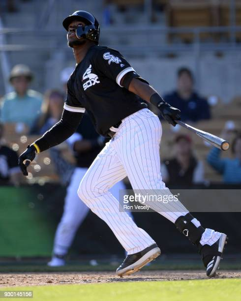 Micker Adolpho of the Chicago White Sox bats against the San Diego Padres on March 4 2018 at Camelback Ranch in Glendale Arizona