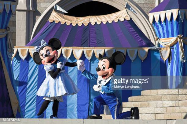 mickey and minnie mouse on stage, magic kingdom, orlando, florida, usa - disney world stock pictures, royalty-free photos & images