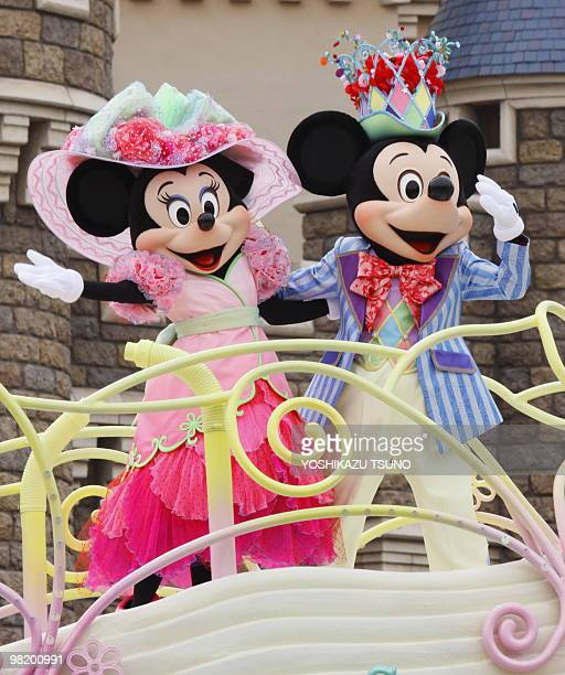 Mickey and Minnie Mouse perform on the float during the press preview for the new parade 'Disney Easter Wonderland' at the Tokyo Disneyland at...