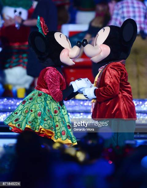 Mickey and Minnie perform during the taping of 'The Wonderful World Of Disney Magical Holiday Celebration' at Walt Disney World on November 5 2017 in...