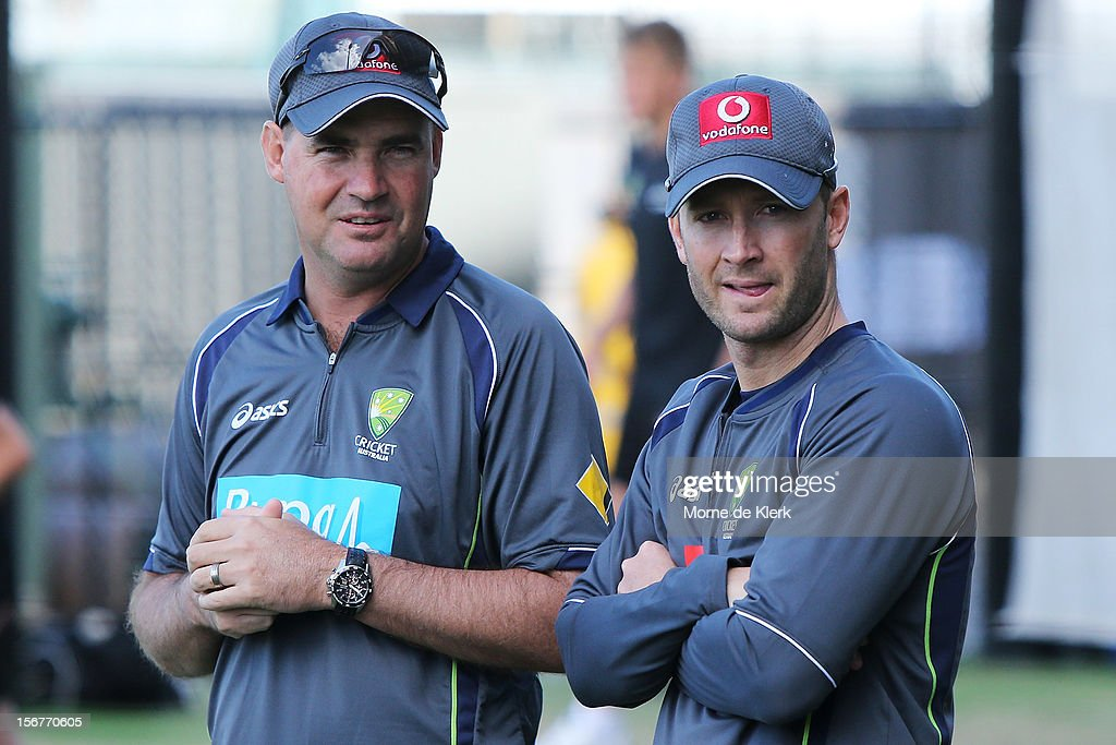 Mickey Arthur and Michael Clarke talk during an Australian training session at Adelaide Oval on November 21, 2012 in Adelaide, Australia.