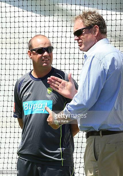 Mickey Arthur and Tom Moody talk during an Australian training session at WACA on November 28 2012 in Perth Australia