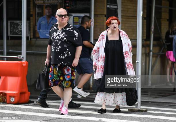 Mickey Boardman and Lynn Yaeger are seen outside the Rodarte show during New York Fashion Week S/S 22 on September 11, 2021 in New York City.