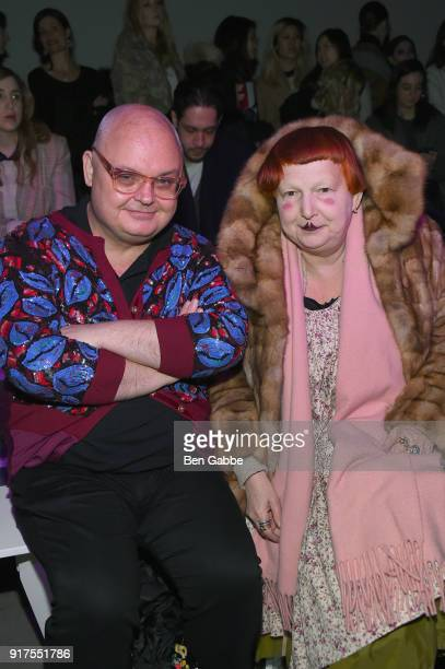 Mickey Boardman and Lynn Yaeger attend the Anna Sui fashion show during New York Fashion Week The Shows at Gallery I at Spring Studios on February 12...