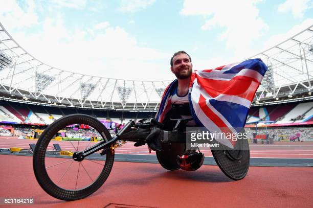Mickey Bushell of Great Britain celebrates after winning silver in the Mens 100m T35 final during day ten of the IPC World ParaAthletics...