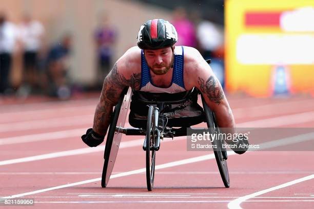 Mickey Bushell of Great Britain competes in the Mens 100m T53 final during day ten of the IPC World ParaAthletics Championships 2017 at London...