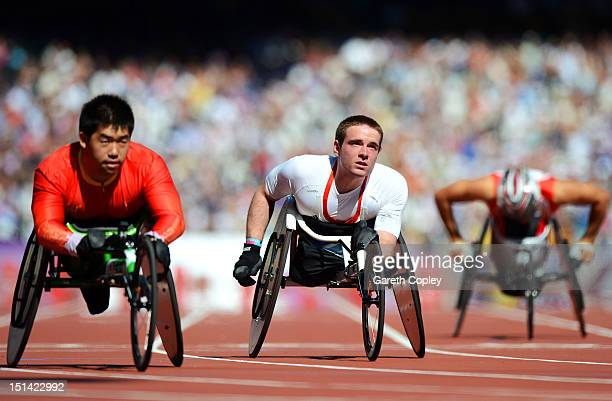 Mickey Bushell of Great Britain competes in the Men's 200m — T53 heats on day 9 of the London 2012 Paralympic Games at Olympic Stadium on September 7...