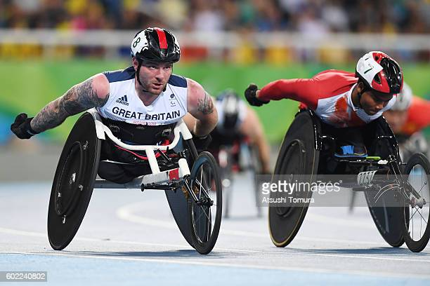 Mickey Bushell of Great Britain competes in the men's 400m T53 on day 3 of the Rio 2016 Paralympic Games at Olympic stadium on September 10 2016 in...