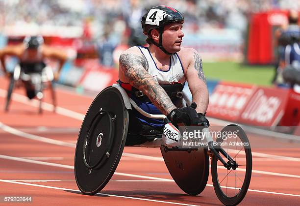 Mickey Bushell of Great Britain looks on after the Mens 100m T53 race during day two of the Muller Anniversary Games at The Stadium Queen Elizabeth...