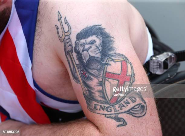 Mickey Bushell of Great Britain Tatto after Men's 100m T53 Final during World Para Athletics Championships at London Stadium in London on July 23 2017