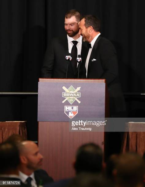 Mickey Callaway introduces American League Cy Young Award winner Corey Kluber during the 2018 Baseball Writers' Association of America awards dinner...