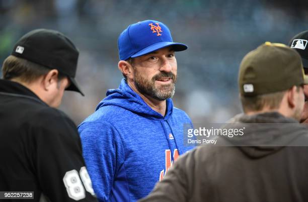 Mickey Callaway of the New York Mets comes onto the field before a baseball game against the San Diego Padres at PETCO Park on April 27 2018 in San...