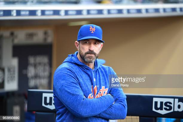 Mickey Callaway of the New York Mets looks on before a baseball game against the San Diego Padres at PETCO Park on April 28 2018 in San Diego...