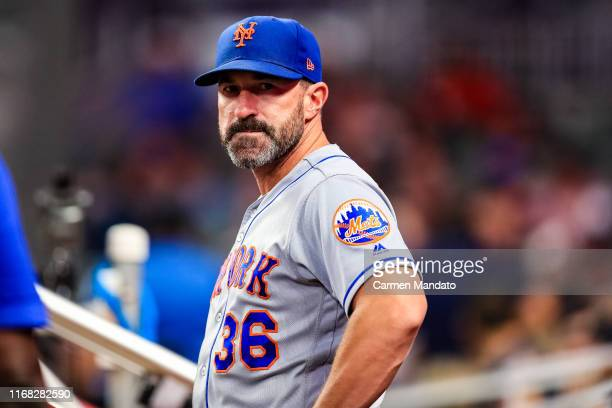 Mickey Callaway of the New York Mets looks on during the game against the Atlanta Braves at SunTrust Park on August 14 2019 in Atlanta Georgia