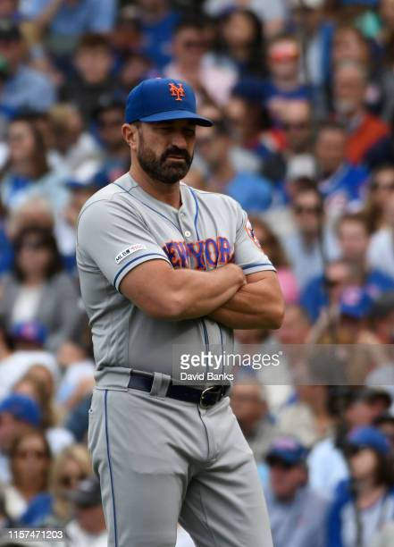 Mickey Callaway of the New York Mets on the field in a game against the Chicago Cubs at Wrigley Field on June 21 2019 in Chicago Illinois
