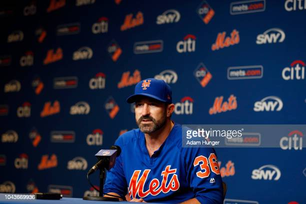 Mickey Callaway of the New York Mets speaks to the media prior to a game against the Miami Marlins at Citi Field on September 30 2018 in the Flushing...