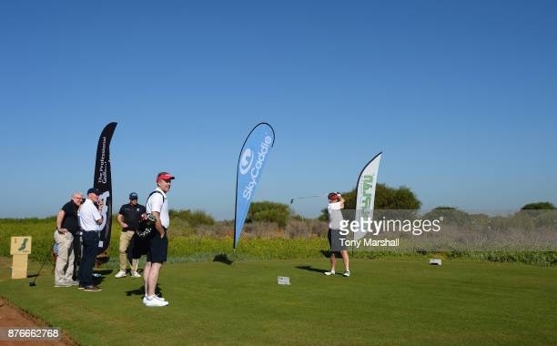 Mickey Coburn Captain of Dundalk Golf Club plays his first shot on the 1st tee during the Practice Round of the SkyCaddie PGA ProCaptain Challenge...
