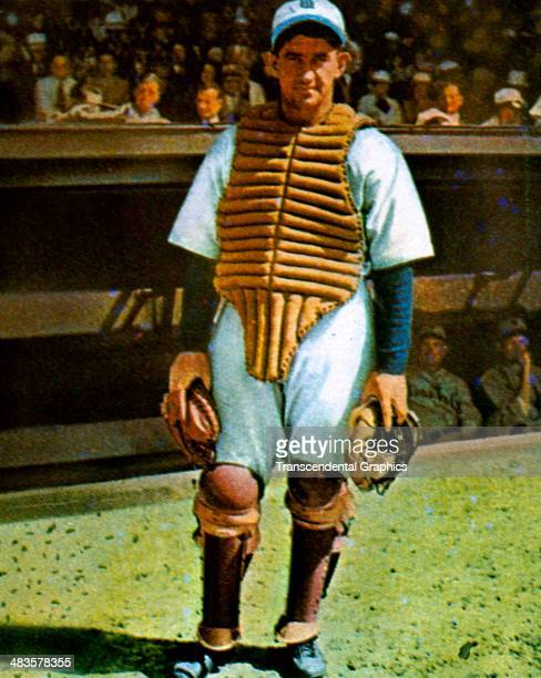 Mickey Cochrane, catcher for the Detroit Tigers pose in full gear in 1935 in Detroit, Michigan.