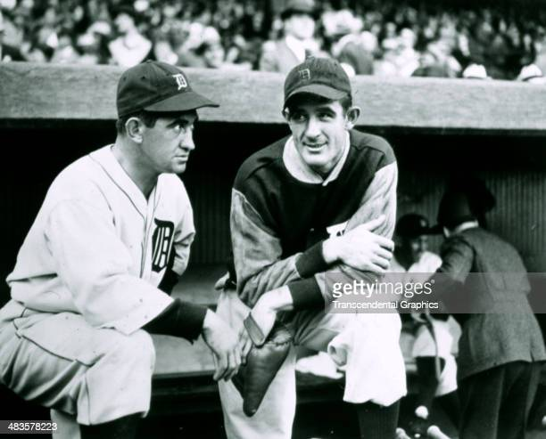 Mickey Cochrane, manager, left, and Eldon Auker, pitcher of the Detroit Tigers pose before a game in 1935 in Detroit, Michigan.