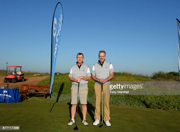 Mickey Colburn Captain of Dundalk Golf Club and Leslie Walker of Dundalk Golf Club pose for a photo on the 1st tee during Day One of the SkyCaddie...