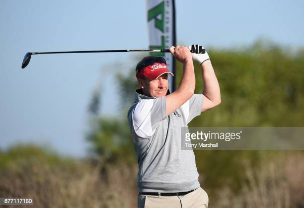 Mickey Colburn Captain of Dundalk Golf Club plays his first shot on the 1st tee during Day One of the SkyCaddie PGA ProCaptain Challenge Grand Final...