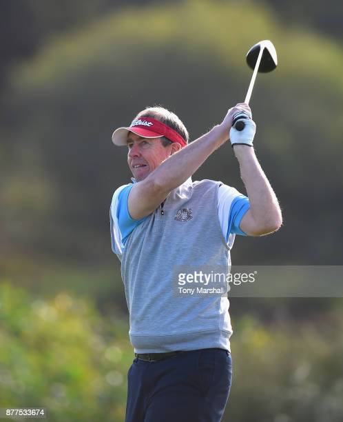 Mickey Colburn Captain of Dundalk Golf Club plays his first shot on the 6th tee during Day Two of the SkyCaddie PGA ProCaptain Challenge Grand Final...