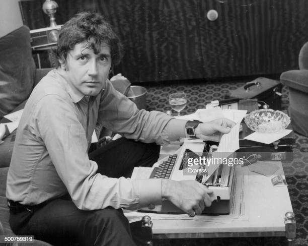 Mickey Deans husband of the late Judy Garland beginning to write her biography at a typewriter London August 27th 1969