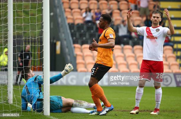 Mickey Demetriou of Newport County AFC reacts after Ricardo Almeida Santos of Barnet FC scores his teams second goal during the Sky Bet League Two...