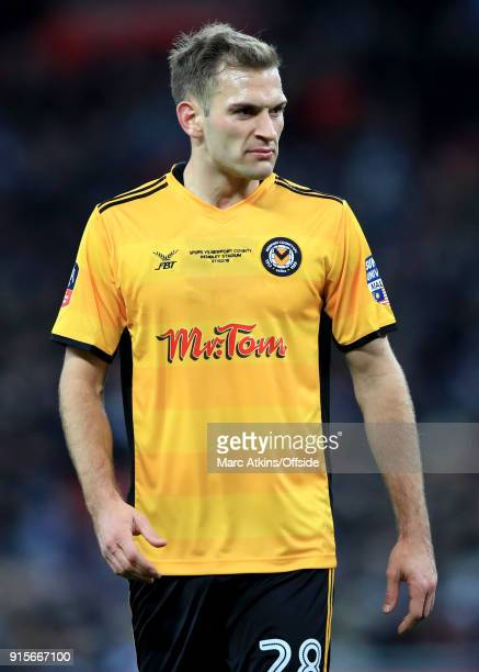 Mickey Demetriou of Newport County during the FA Cup Fourth Round replay between Tottenham Hotspur and Newport County at Wembley Stadium on February...