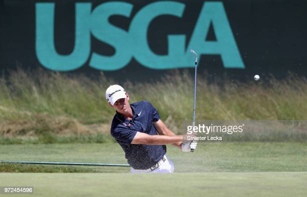 Mickey DeMorat of the United States plays a shot during a practice round prior to the 2018 US Open at Shinnecock Hills Golf Club on June 12 2018 in...