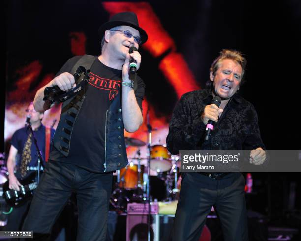 Mickey Dolenz and Davy Jones of The Monkees perform at Pompano Beach Amphitheatre on June 5 2011 in Pompano Beach Florida