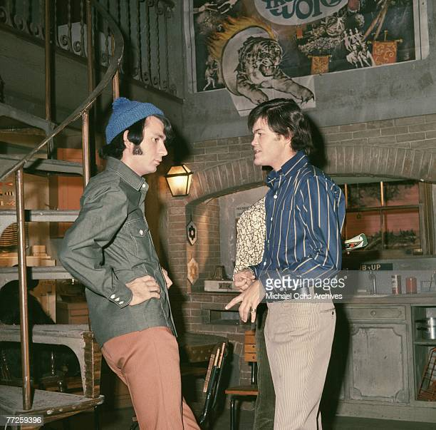 Mickey Dolenz and Mike Nesmith on the set of the television show The Monkees circa 1967 in Los Angeles California